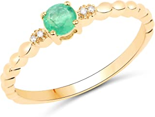 14K Yellow Gold Zambian Emerald and White Diamond Ring (0.24 cttw, I-J Color, I2-I3 Clarity) from Johareez