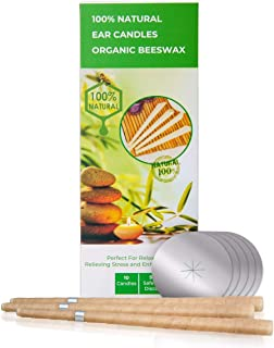 100% Natural Beeswax & Cotton Muslin Ear Candle Kit Infused With Essential Oils - Therapeutic Candling Cones Pack of 10