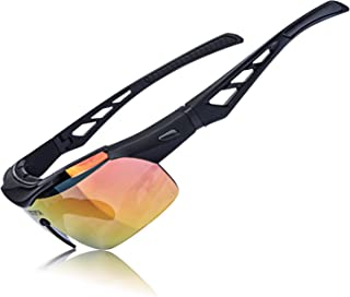 AOKNES Polarized Sports Sunglasses for Men Women Cycling Baseball Running Fishing Driving Golf Glasses with 3 Interchangeable Lenses