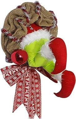 URMAGIC Christmas Thief Stole Christmas Burlap Wreath,Christmas Grinch Wreath with Pose able Plush Legs,Ball,Christmas Elemen