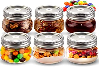 Sungwoo Mason Jars, Canning Jars 4 ounces, 6 PACK, with Sealed and Straw Lid, Ideal for Juice, Jam, Honey and Spice, Weddi...