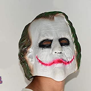 Halloween Mask Cos Captain Batman Clown Dark Knight Horrible Cosplay Mask Scary Mask for Festival Music Party Costume - White+Green