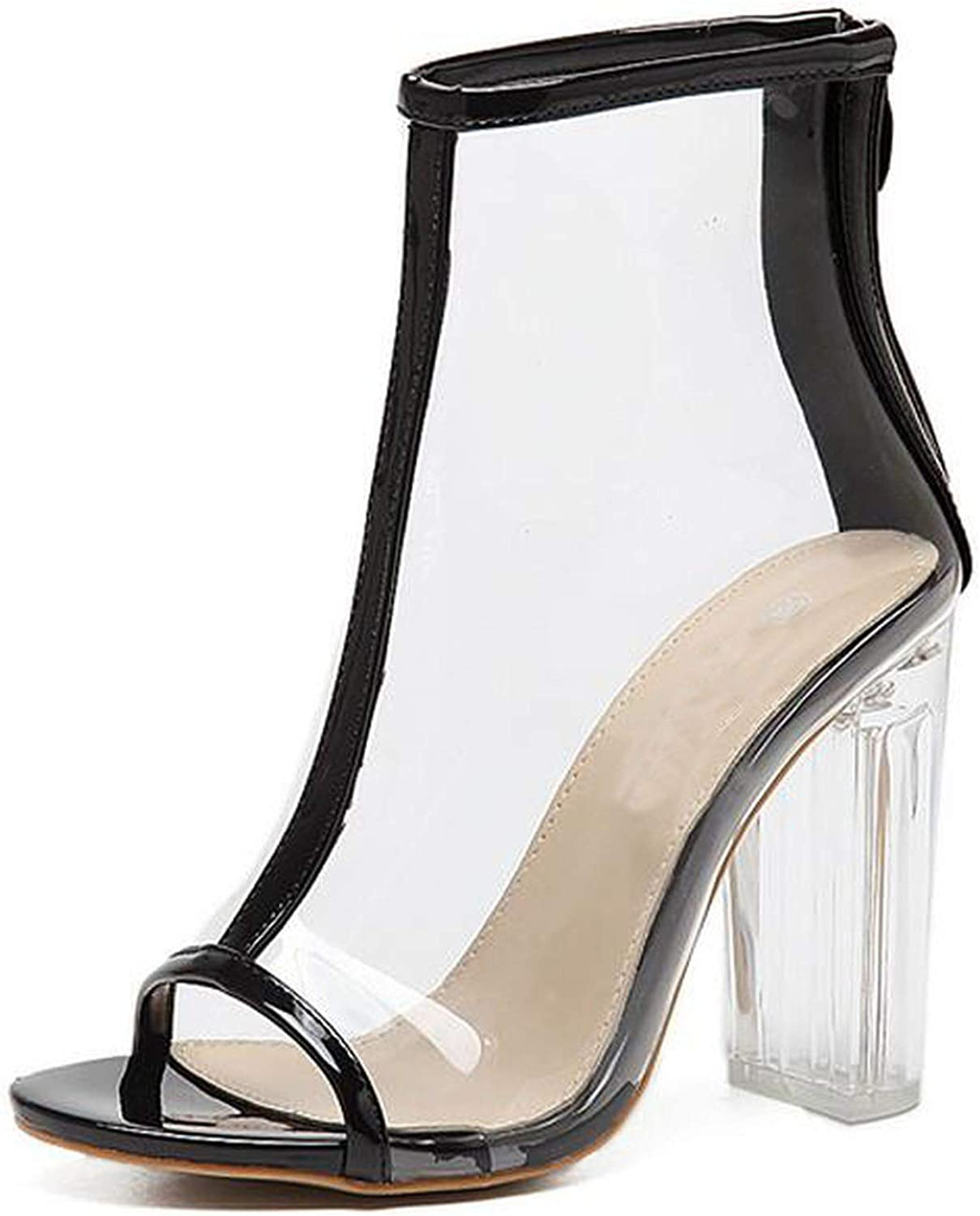 RAINIE002 Sexy PVC Transparent Boots Sandals Peep Toe Kim Kardashian shoes Clear Chunky Heels Sandals womenwomen Boots 11Cm