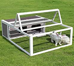 Small Animal Enclosure Outdoor for Rabbits Chicks Guinea Pigs Metal Wire Playpen, Tortoise House Habitat Large Wood with Run