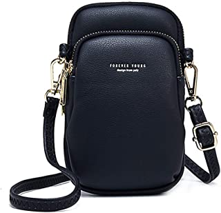Prime Sale Day Womens Cellphone Pouch Leather Purse Wallet Case Small Crossbody Shoulder Wrist Bag Tote Multi-Slot Cellphone Holster Messager Bag for Girls for iPhone Xs Max Xr X 8/7/6 Plus (Black)
