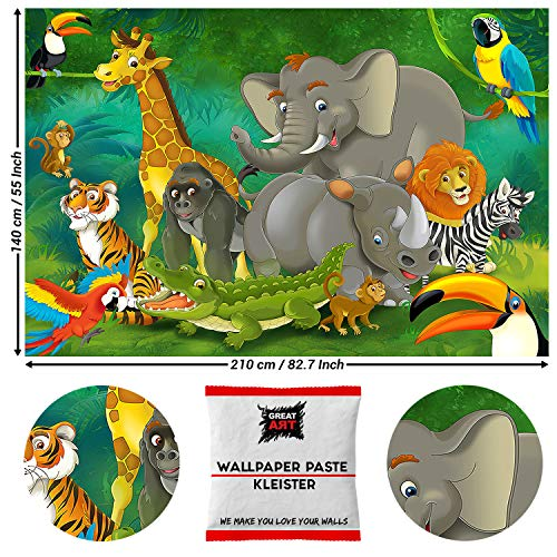 Great Art fotobehang Comic jungle dieren dieren 210 x 140 cm - 5 Teile + Kleister Urwald
