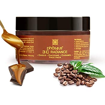 phos4us Chocolate Face Pack for Glowing Skin, Fairness, Anti Aging, Skin Tightening, De Tan with Caffeine & Caramel 50Gm