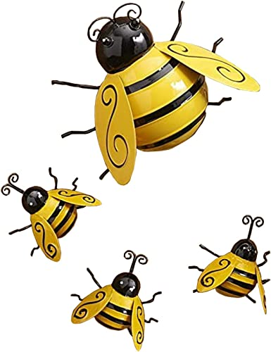 Yellow Bee Garden Decor Decorative Metal Wall Art Bee Sculpture Inspirational Wall Decor Lawn Ornaments for Indoor and Outdoor, 4 Pack