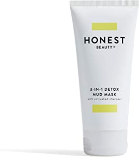 Honest Beauty 3-in-1 Detox Mud Mask With Activated Charcoal & Jeju Volcanic Ash | Paraben Free, Dermatologist Tested, Cruelty Free | 2.8 fl. oz.