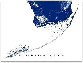 Florida Keys Map Print, Key West, Key Largo, USA Wall Art Poster