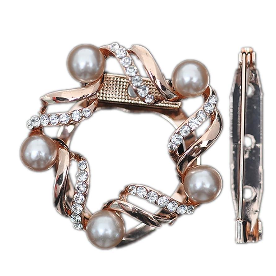 Winuxury Women's Elegant Round Designer Scarf Ring with Pearls Rhinestone Genuine Counterback Scarf Clip