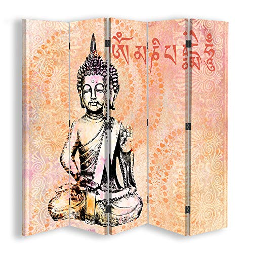 carowall CAROWALL.COM Biombo Decorativo Mantra 5 Paneles 360° Buda Naranja 180x175...