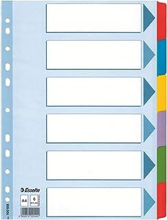 Esselte Intercalaires A4 6 Touches, Bleu/Multicolore, Carton Résistant Recyclé, 6 Onglets avec Table des Matières, 100168