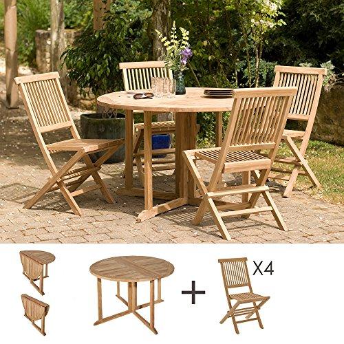 MACABANE 501095 Salon de Jardin Couleur Brut en Teck Dimension 120cm X 120cm X 75cm