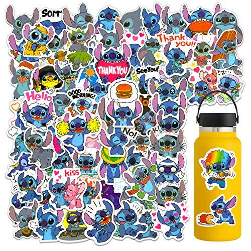100PCS Stitch Laptop Stickers, Cute Waterproof Vinyl Cartoon Stickers for Water Bottles Tumbler Luggage Skateboard Bumper Scrapbook Mug, Sticker Gift for Kids Teens Adults