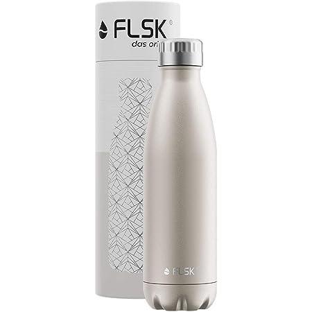 FLSK フラスク 水筒 真空断熱 ステンレスボトル 魔法瓶 炭酸 OK (500ml, シャンパン)