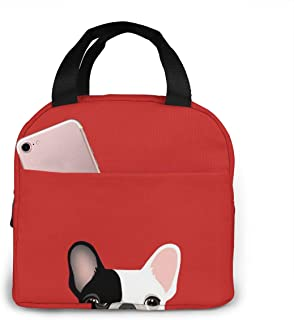 YAGVK Red Black and White Bulldog Reusable Insulated Thermal Lunch Bag Case Handbags Tote with Zipper for Adults Kids Nurse Teacher Work Outdoor Travel Picnic