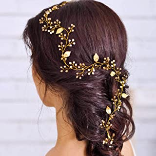 Yean Leaf Bride Wedding Headband Gold Bridal Hair Accessories Rhinestones Headpiece for Women and Girls