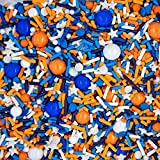 Blippi and Nerf Cake Decorations Edible and Fancy Sprinkles for Cake, Cookie, Cupcake Decorating, and Baking - Cake Sprinkles and Toppings in Blue and Orange Jimmies, Nonpareils, Sugar Pearl Sprinkles