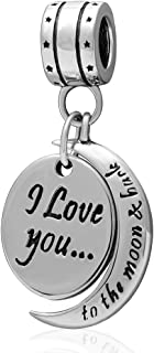 925 Sterling Silver Charm I Love You Dangle Pendant for Pandora Style Bracelets
