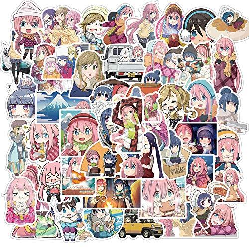50PCS Anime giapponesi Yuru Camp Graffiti Adesivi impermeabili per motociclette Computer Bagagli Tazza d'acqua Telefono Adesivi per skateboard per bambini Adulti