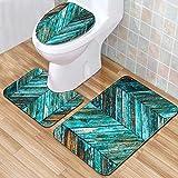 Alfombrillas de baño Nueva estrella de mar Shell de 3 piezas de baño Set Alfombra Anti Slip de baño WC Alfombra esteras de la alfombra Conjunto for la decoración casera impresión Felpudo-C8 Alfombra d
