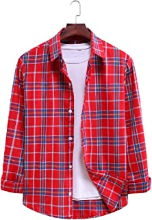 UUYUK Mens Casual Plaid Long Sleeve Button Front Shirts