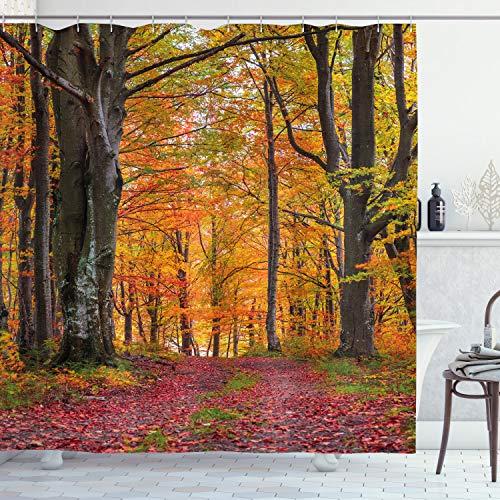 ABAKUHAUS Herbst Duschvorhang, Shady Laubbäume, Wasser Blickdicht inkl.12 Ringe Langhaltig Bakterie & Schimmel Resistent, 175 x 200 cm, Aprikose braunrot