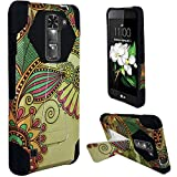 LG K7 Case, Lg Tribute 5 Case (Boost Mobile, Metro PCS), Luckiefind Antique Flower Hybrid Dual Layer Case with Stand, Stylus Pen, Screen Protector & Wiper Accessory (Stand Antique Flower)