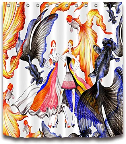 douchegordijn meisje goudvis polyester stof waterdicht en meeldauw 3D-hd afdrukken huisdecoratie 180x 200cm 12 haken