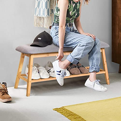 """2021 Giantex Bamboo Shoe Bench Rack, Upholstered Shoe Bench Seat, Wooden Storage Bench with Soft Cushion for Entryway Bedroom Living Room Hallway Garage (35.5"""" L x 12"""" high quality W outlet online sale x 17.5"""" H) online"""