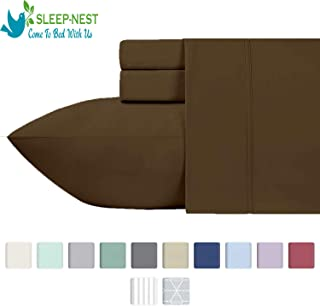 Sleep-Nest Hotel Quality 600 TC Natural Cotton Full Size 4-Pcs Bed Sheet Set Elastic All Around - Fits Mattress Upto 16 Inch Deep Pocket Easy Fit, Brown Solid