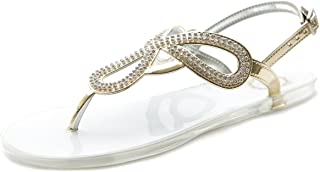 Women's Shoes Crystal Beads Thong Ankle Strap Flip Flops Jelly Flats Sandals ML020
