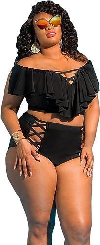 Gyps Femme Bikini Sexy de Bain Bikini à Bretelle Triangle maillot de bain Plage Bikini Confortable Moderne Maillot de Bain Taille Haute Bikini Confort Moderne, Noir, 5XL