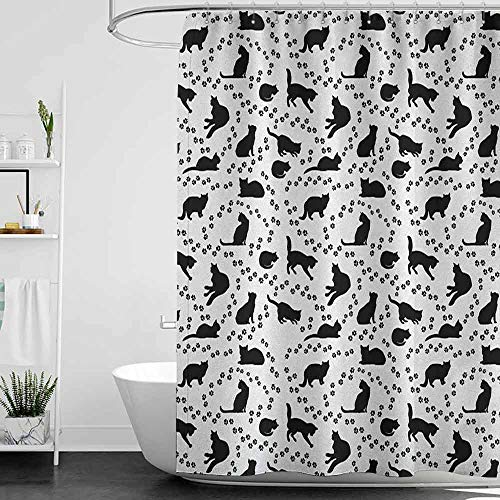 hengshu Cat Hotel Quality Polyester Shower Curtain Cat Silhouette and Animal Tracks Pattern Paws Footprints Kitties Different Poses Shower and Bathtub W55 x L72 Inch Black and White