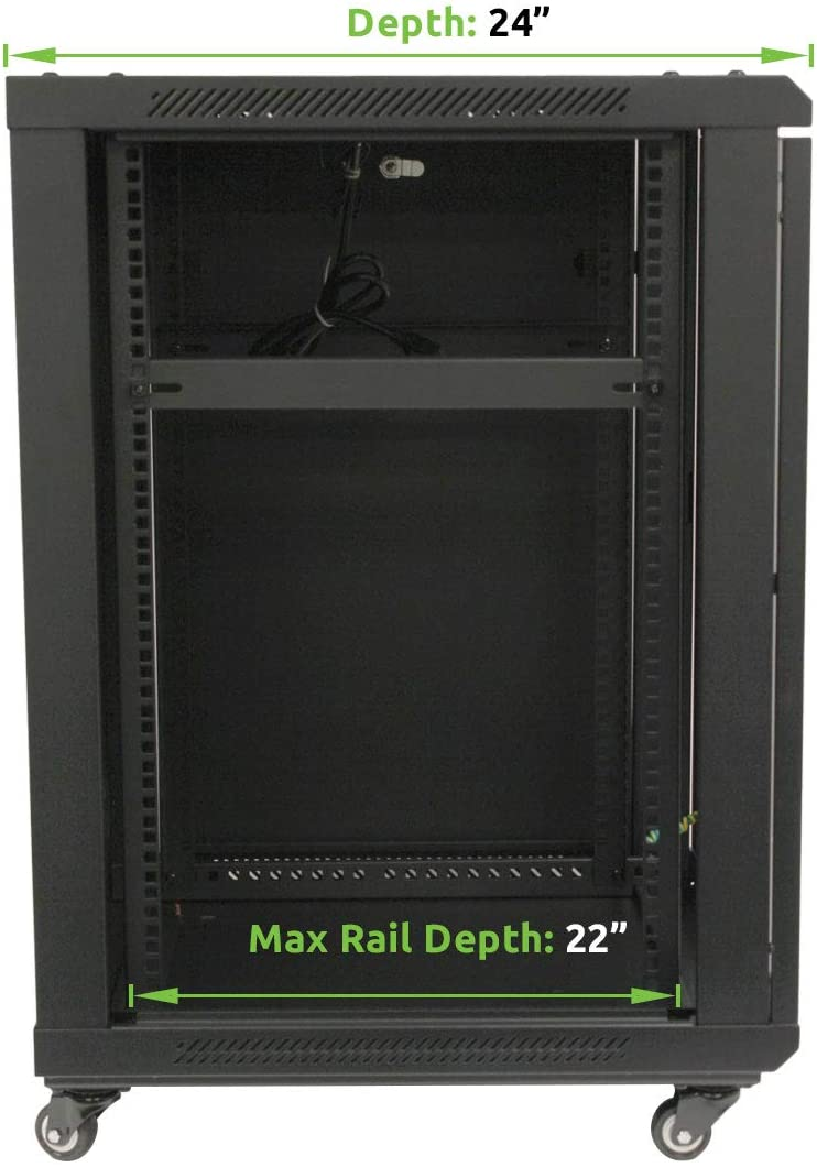 NavePoint 15U Wall Mount Server Data Cabinet 24-inch Depth Glass Door Lock and Key w/Casters