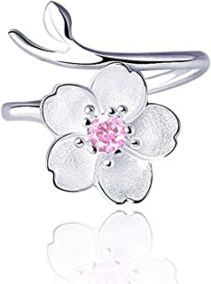 UUONLY Cherry Flower Ring, Flower Blossom Ring 925 Silver Plated Flower Adjustable Ring: Cherry Ring for Girls, Flower Blossom Ring Jewelry Gift for Women.