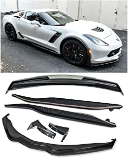 For 2014-2019 Corvette C7 | Z06 Stage 3 CARBON FIBER Front Lip Splitter Side Extension Winglets Side Skirts Rocker Panel & Painted Carbon Flash Rear Wing Light Tinted Wickerbill Spoiler