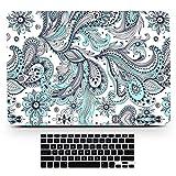 bizcustom MacbookミントグリーンペイズリーMandala Totemsペイントハードプラスチック前面背面ケースとブラックキーボードカバーfor Pro 13 w./out Touch bar A1706/A1708(Retina) ターコイズ