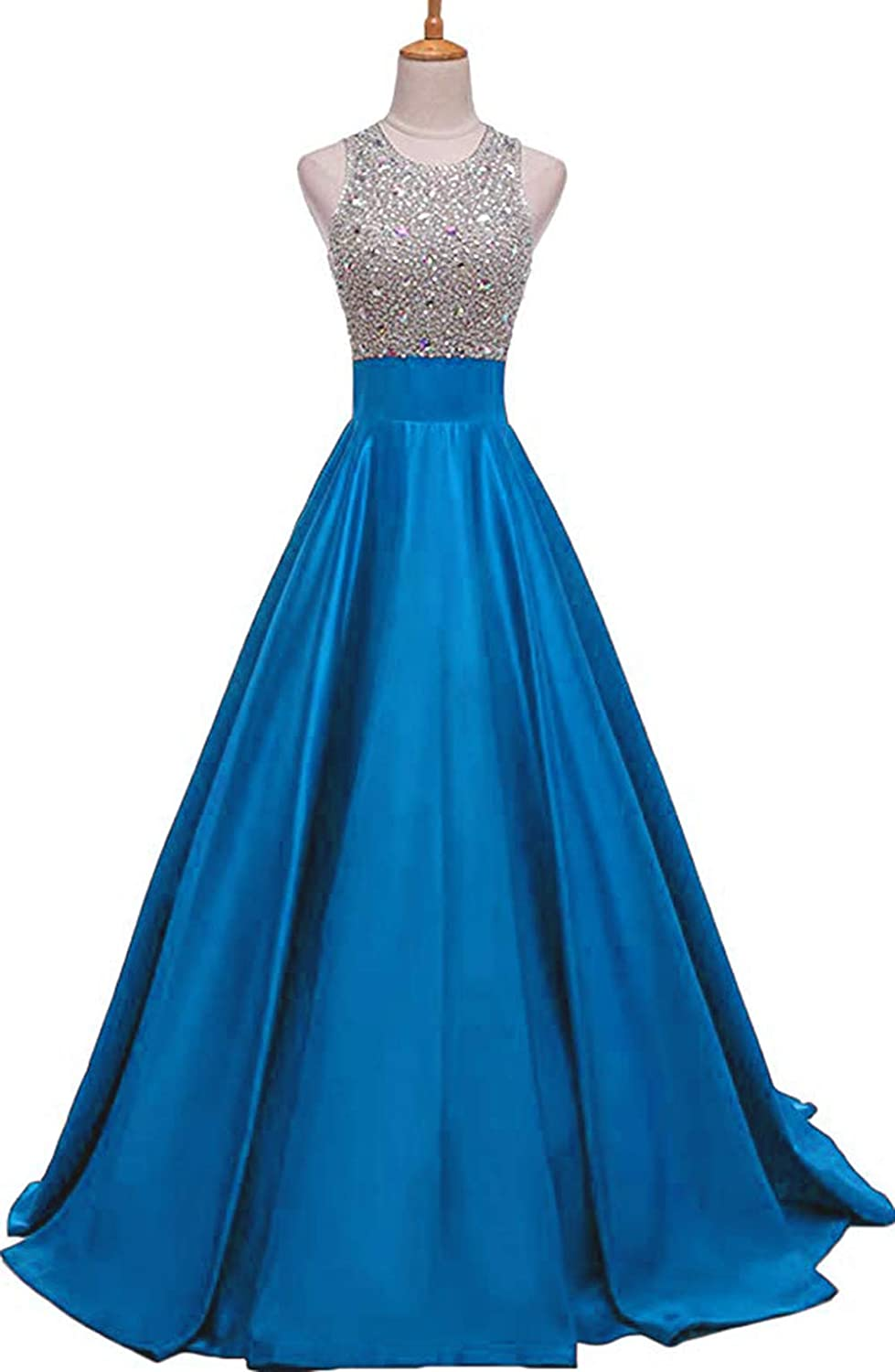Womens Beaded Backless Prom Dresses Long 2019 Satin A Line Formal Evening Ball Gowns with Pockets