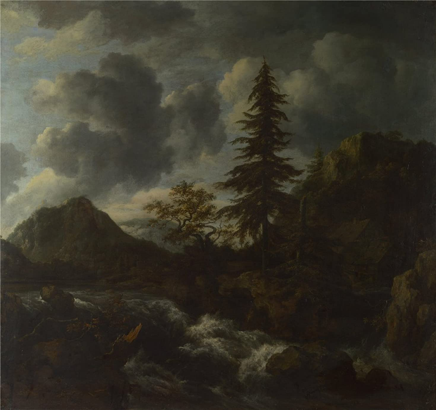 The High Quality Polyster Canvas Of Oil Painting 'Jacob Van Ruisdael A Torrent In A Mountainous Landscape ' ,size: 16 X 17 Inch / 41 X 43 Cm ,this Imitations Art DecorativePrints On Canvas Is Fit For Nursery Artwork And Home Decoration And Gifts