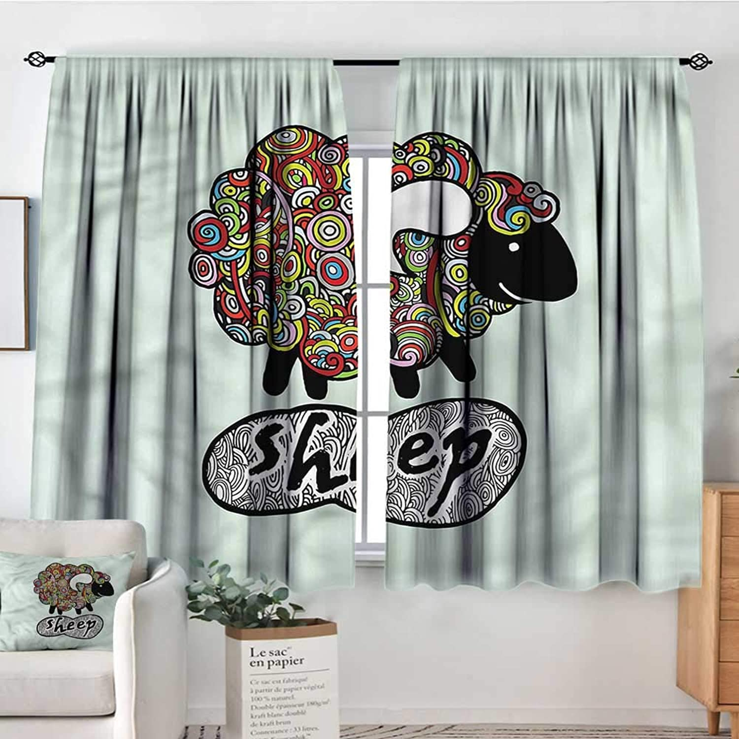 Sanring Indie,Bocking Ight Rod Curtains Hipster Doodle Fun Sheep 52 x63  for Baby Bedroom