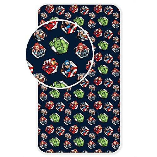 Jujak Sábana bajera ajustable para cama individual, 100% algodón, 90 x 200 cm, diseño de vengadores, 90 x 200 x 25 cm.