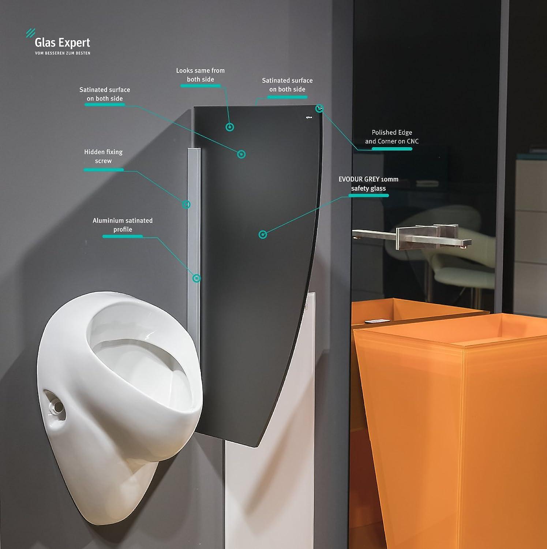 Glas Urinal Trennwand 450mm x 800mm Urinal Glaswand Glas Urinal Trennwand Glas WC Trennwand (Grau Satin S2)