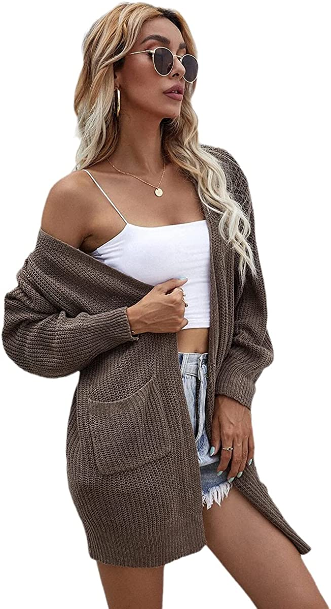 Dyexces Women's Front Cardigan Long Sleeve Chunky Knit Mid-Length Sweater with Pockets