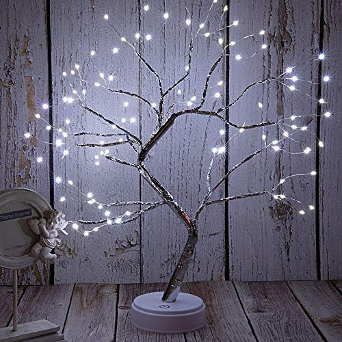 FuChsun Bonsai Tree Light 108 LED White Shimmer Silver Branches Battery and USB Operated (White Glow Silver Branch)