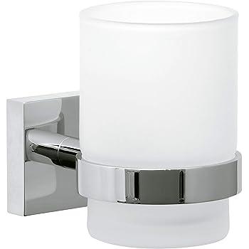 Tesa ekkro Zahnbürstenhalter (verchromt, satiniertes Glas, inkl. Klebelösung, hohe Haltekraft (bis 6kg), 95mm x 67mm x 110mm)