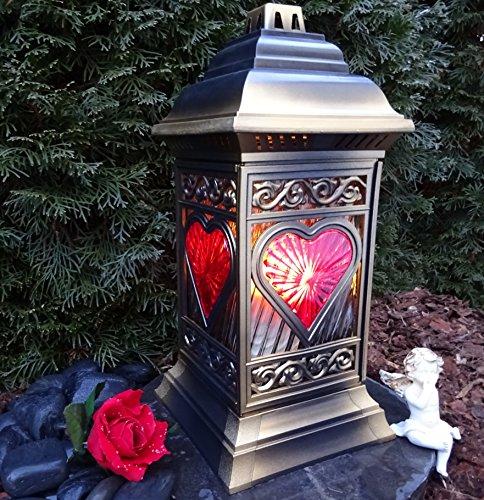 ♥ Grablaterne Grablampe 36,0cm mit Grabkerze Grabschmuck Grableuchte Grablicht Laterne Kerze Lampe