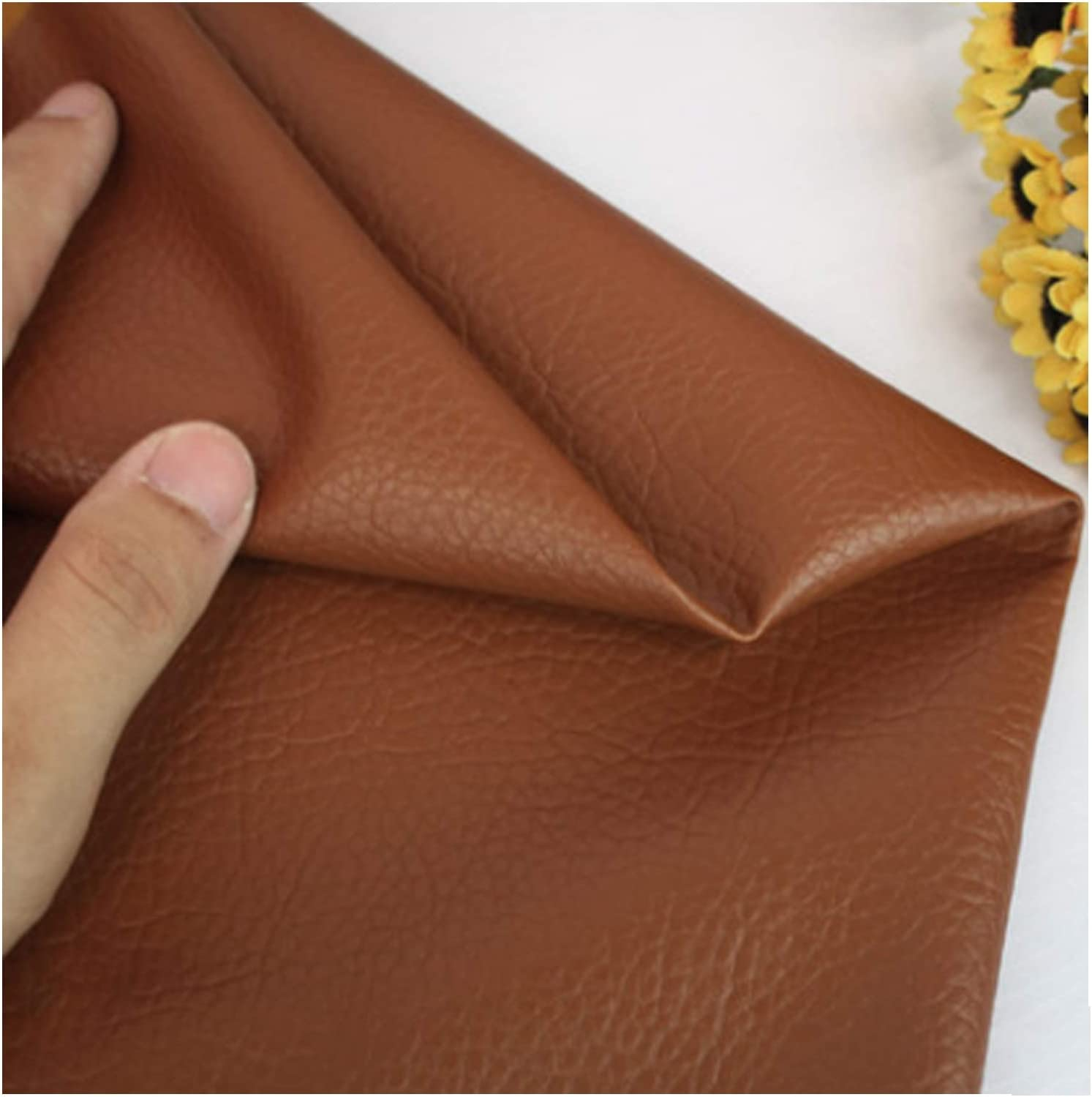 MAGFYLY Faux Leather roll Faux Leather Fabric Litchi Grain Texture Leatherette Vinyl Leathercloth Upholstery Textured Material - Half Metre 50cm X 140cm (Color : Brown, Size : 1.4x0.5m)