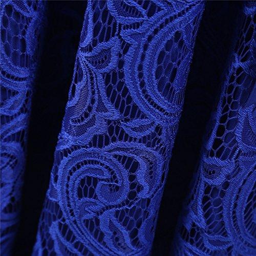 Dressystar 0018 V Neck Lace 3/4 Sleeve Bridesmaid Wedding Guest Dress Slim Waist XXL Royal Blue
